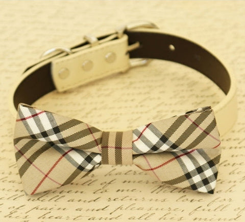 Dog Bow Tie Plaid Burly wood collar, dogs birthday gift, Puppy lovers, Ivory, Pet accessory