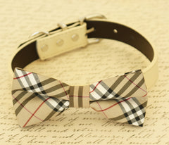 Plaid Burly wood bow tie, Bow Tie attached to dog collar, dog birthday gift, dog lovers, dog collar, Ivory, Pet accessory - LA Dog Store  - 1