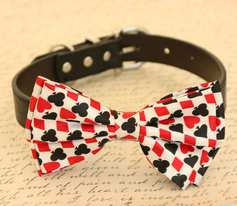 Hearts Diamonds, Black and Red dog bow tie collar, Alice In Wonderland wedding