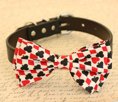 Dog bow tie, bow attached to dog collar, Hearts Diamonds, Black and Red, Poker, Alice In Wonderland, Dog lovers, Playing card, Dog collar - LA Dog Store  - 1