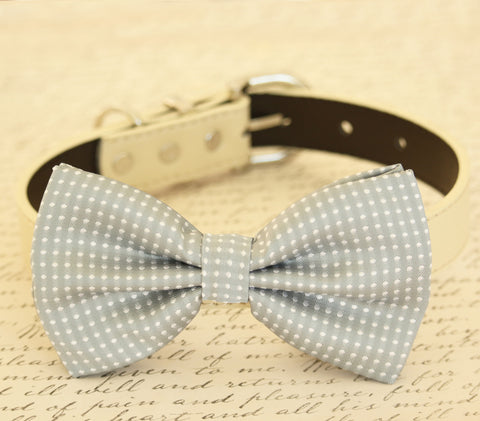 Gray Dog Bow Tie Wedding with collar, pet bow tie, birthday, gift