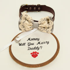 Gray lace bow tie dog collar,Bow and handmade Embroidery sign attached to leather collar, will you marry me, Marry me, handmade, Key heart