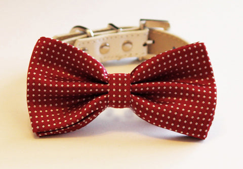 Red Dog Bow tie with collar, Dog Wedding, Pet Birthday Accessory, Red Lovers