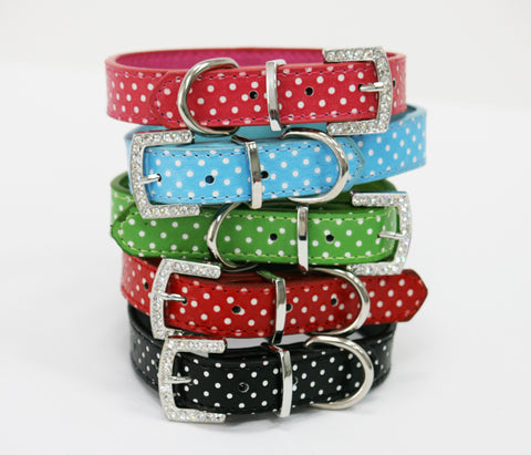 Black Polka dots dog collar, Rhinestone buckle, Cat pet collar, PU Leather , Wedding dog collar
