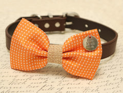 Orange Dog Bow Tie, Burlap bow tie, Bow tie attached to brown dog collar, Country Rustic wedding,Bow with charm, Live,Laugh, Love - LA Dog Store  - 1