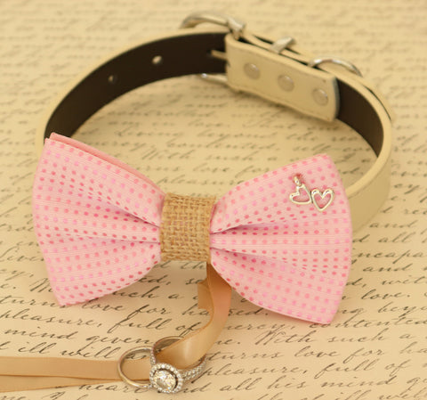 Pink Bow Tie Dog ring bearer attached to collar, Pet Wedding, Charm , Wedding dog collar
