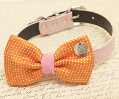 Orange Dog Bow Tie, Bow attached to dog collar, Country Rustic wedding, Live,Laugh, Love, dog birthday gift, pet wedding accessory - LA Dog Store  - 1