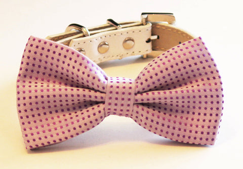 Purple Dog Bow Tie with high quality leather collar, Purple wedding accessory