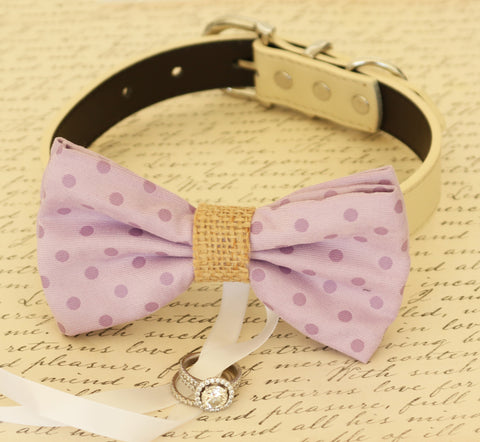 Purple Dog Bow Tie ring bearer, Burlap Wedding, Proposal, Dog collar
