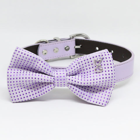 Purple dog bow tie attached to collar, wedding accessory, dog birthday, heart charm , Wedding dog collar
