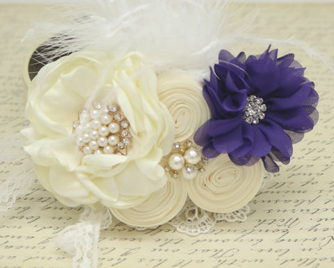 Ivory Purple Flower dog collar, Pearl, beaded, feather flower attached to Ivory, Champagne, Black, Orange, lilac or Gray leather collar