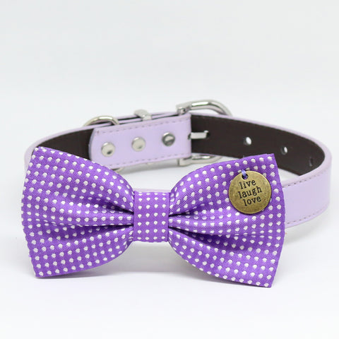Purple dog bow tie collar, Pet Accessory, Live Love Laugh, Purple bow , Wedding dog collar