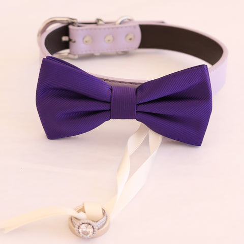 Purple bow tie collar Leather collar dog of honor ring bearer adjustable handmade XS to XXL collar bow, Puppy, Proposal , Wedding dog collar