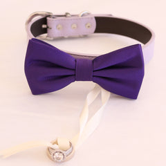 Purple bow tie collar Leather collar dog of honor ring bearer adjustable handmade XS to XXL collar bow Puppy Proposal