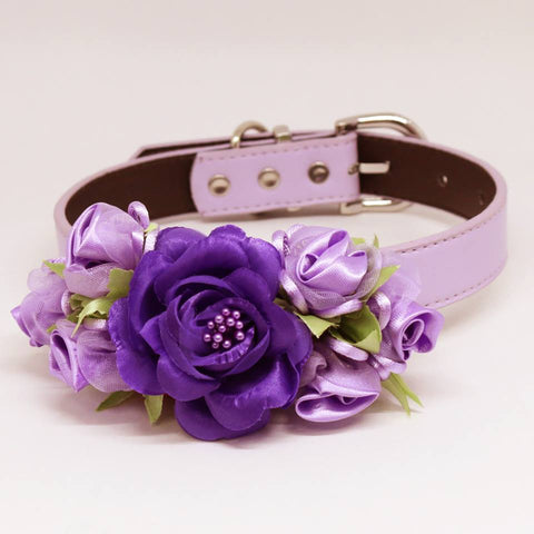 Purple Wedding Dog Collar, High Quality Rose Flowers, Pet Wedding Accessory, Handmade , Wedding dog collar