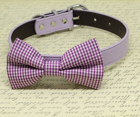 Purple Plaid dog Bow tie collar, high quality, Wedding Pet Accessory, birthday gift , Wedding dog collar