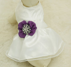 Purple Dog Dress,  Pet wedding accessory,dog clothing, Rhinestone, dog lovers, birthday gift, Purple wedding, Rhinestone, dog wedding dress - LA Dog Store  - 1