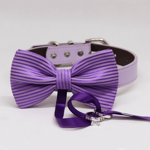 Purple Dog Bow Tie ring bearer Collar, Pet Wedding, Puppy Love, Proposal, Handmade Gifts , Wedding dog collar