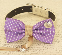 Purple Dog Bow Tie collar,  Dog ring bearer, Pet Wedding accessory, Charm, Live, Love, Laugh, Burlap, Proposal, Amethyst Orchid, Polka dots - LA Dog Store  - 1