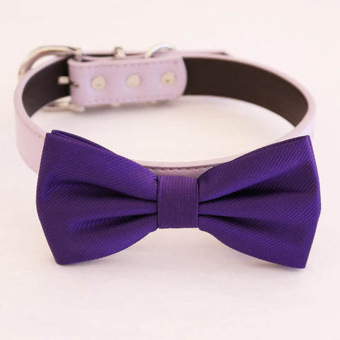 Purple bow tie collar dog of honor dog ring bearer XS to XXL collar and bow tie, adjustable Puppy bow tie handmade boy dog collar