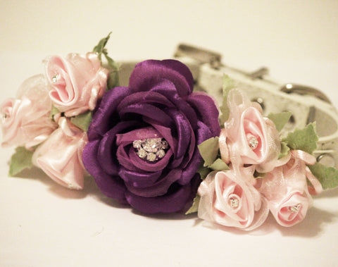 Purple Light Pink Dog Collar, Floral Wedding Dog, pink love, purple wedding