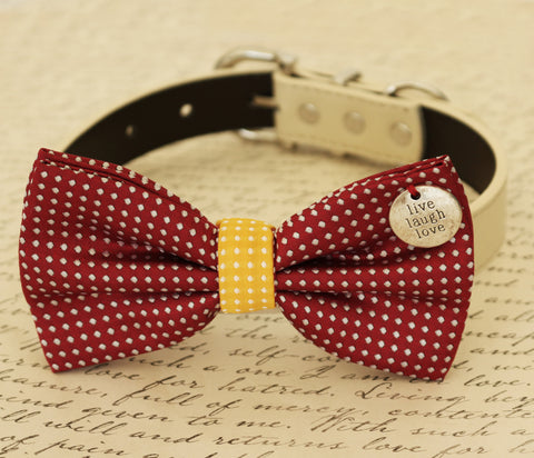 Red Dog Bow Tie attached to collar, Pet wedding, Red and Yellow Polka dots
