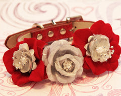 Red and Silver Floral Dog Collar, High Quality Collar with Red and Silver flowers- Wedding, Christmas, Valentines day Gift, Elegant - LA Dog Store  - 1