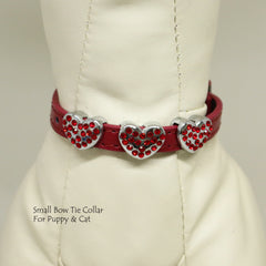 Dog Cat Collar, Leather, Charm, XS Collars,  Puppy collars, Cat Collar, kitten collar, Pet, Heart