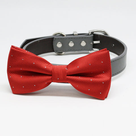 Apple Red Dog Bow Tie collar, dogs Gift, Pet Wedding, Puppy Love, Handmade