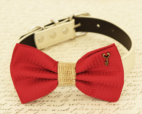 Red Wedding Dog Bow Tie attached to collar, Burlap, Polka dots, Charm , Wedding dog collar