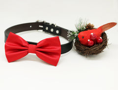 Red dog bow tie collar, Red leather collar, handmade