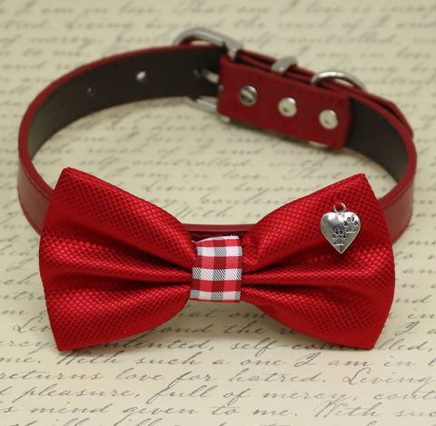 Red Dog Bow tie Collar, heart, paw, birthday gift, Pet wedding accessory, dog Lovers