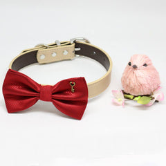 Red Dog Bow tie Collar, Charm (Key to my Heart), Valentine's Day, Pet wedding accessory