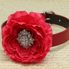 Red Wedding Floral Dog Collar with Rhinestone, Pet Wedding accessory, Christmas Gifts