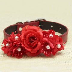 Red Flowers Wedding Dog Collar, Floral with Pearls, Christmas Gifts, Puppy Love