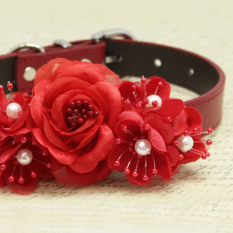 Red Flowers Wedding Dog Collar, Floral with Pearls, Gifts, Puppy Love , Wedding dog collar