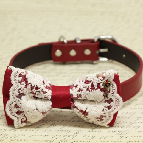 Red with Lace dog bow tie collar, Charm (Key of Heart), Puppy Gift, Pet wedding, Birthday , Wedding dog collar