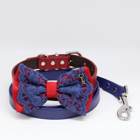 Red Navy Blue Lace dog bow tie Red collar Navy Leash, Key of Heart Charm, Pet wedding, Handmade , Wedding dog collar