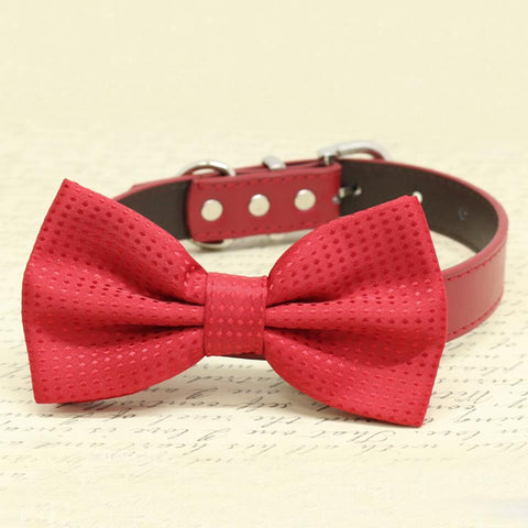 Handmade Red Dog Bow tie collar, pet Wedding