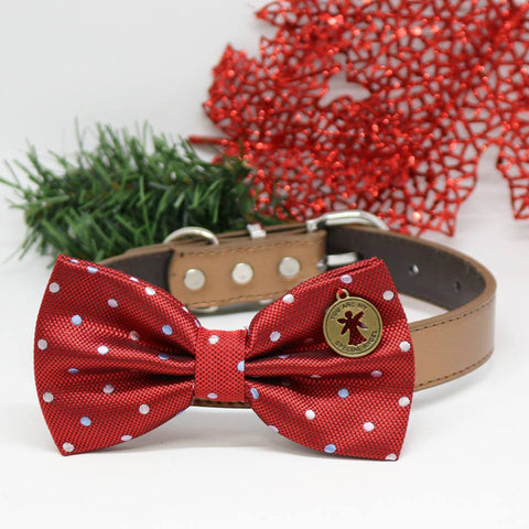 Dog Red Polka Dots Bow tie collar, You are my special angel, Dog birthday gift, wedding accessory, gift