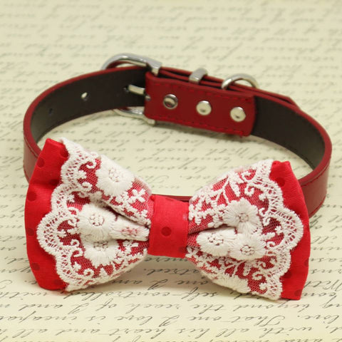 Red Polka Dots with Lace Dog Bow Tie collar, Pet wedding accessory, Puppy birthday gift , Wedding dog collar