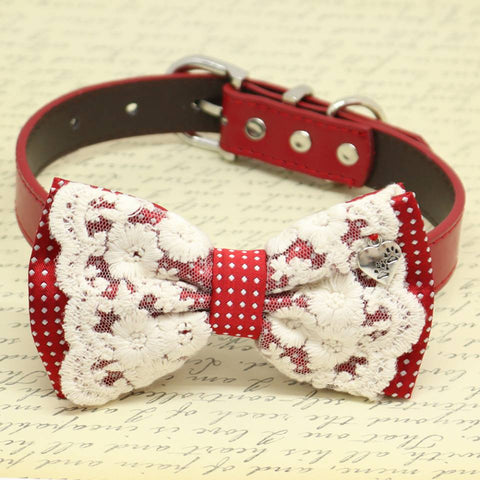 Red with Lace and Polka Dots Dog Bow Tie collar, Pet wedding, Charm(Hearty Paws), birthday