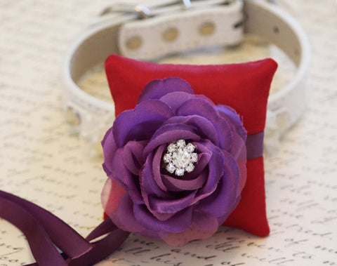 Red and Purple Ring Pillow for dogs, Cute Chic Ring Pillow attach to the High quality Leather Collar, Ring Bearer Pillow, Proposal Idea