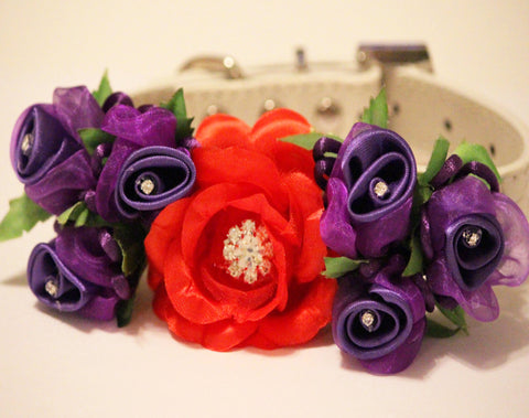 Red Purple Floral Dog Collar, Dog wedding, Floral wedding