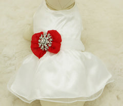 Red Dog Dress, Christmas gift, Pet wedding accessory, Rhinestone, dog lovers, Wedding gift, custom dog dress, Red dog dress - LA Dog Store  - 1