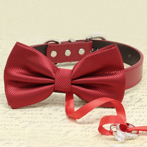 Red Bow Tie Ring Bearer dog Collar, Pet Wedding, Proposal, Puppy Love, Gifts , Wedding dog collar