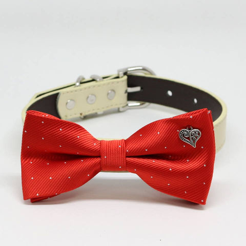 Red Dog Bow tie Collar, Charm (Heart), birthday gift, Pet wedding accessory, Silver Dots , Wedding dog collar
