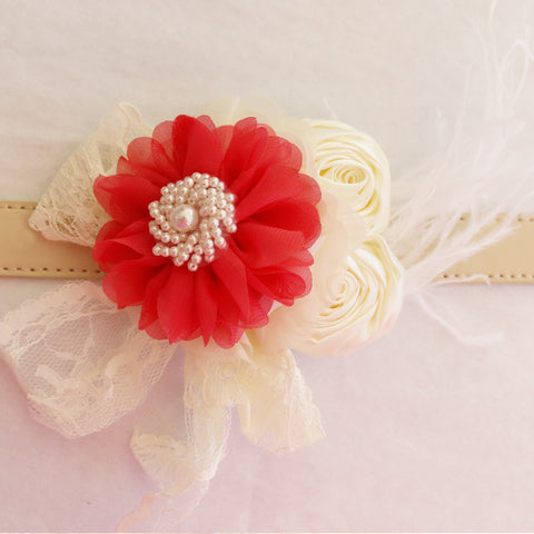 Red Ivory Flower dog collar, Handmade Pearl feather flower leather collar, Dog of honor proposal or every day use, S to XXL collar
