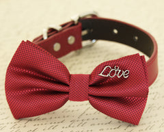 Red Dog Bow tie collar, Dog lovers, charm, Christmas gift, Proposal, Dog birthday gift