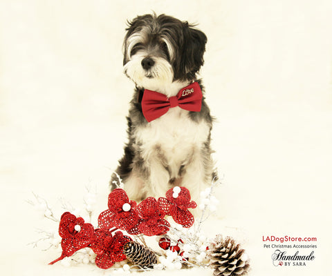 Red Dog Bow tie collar, Pet wedding accessory, Dog birthday gift